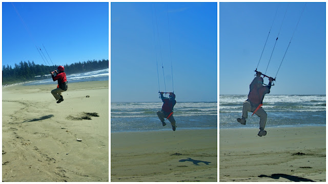 Getting air with the high winds at Tofino...