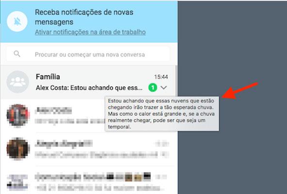 Mensagem de grupo visualizada sem abrir o chat por meio do WhatsApp Web