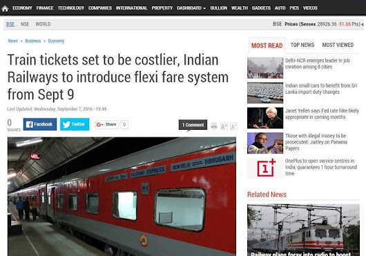 FLEXI- FARE SYSTEM IN INDIAN RAILWAY IS NOTHING BUT SUCKING THE BLOOD OTHER WAY...