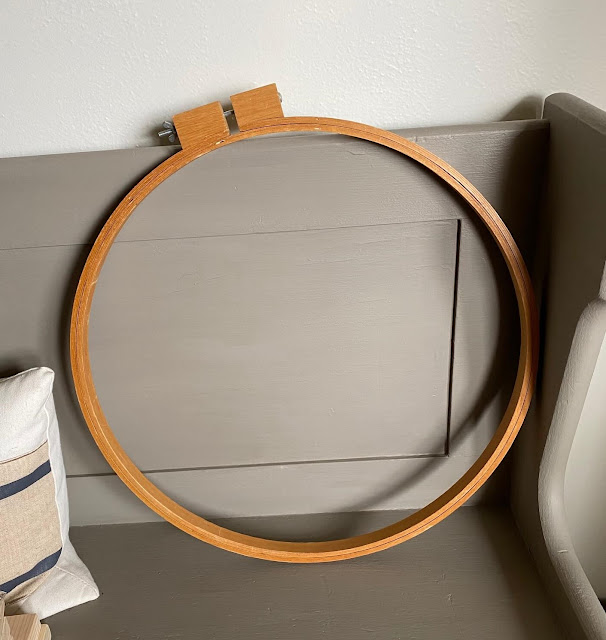 Photo of a large wooden quilting hoop