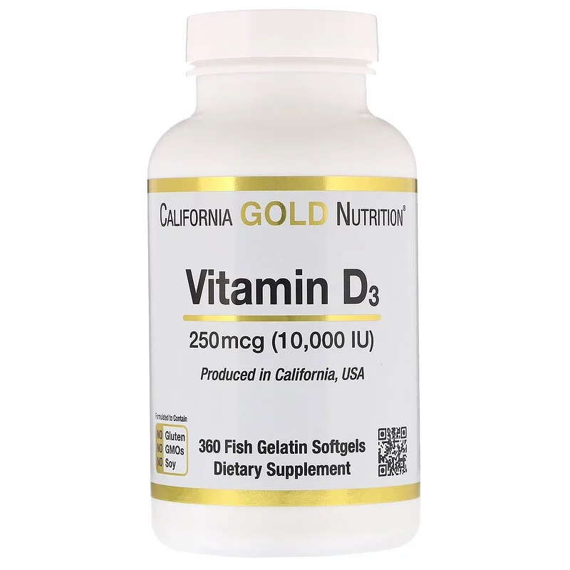 California Gold Nutrition, Витамин D3, 250 мкг (10 000 МЕ), 360 рыбно-желатиновых капсул