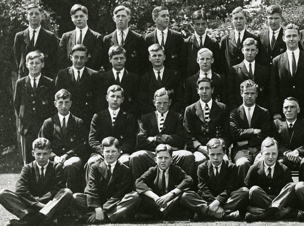 Britten at Gresham's School - He is pictured front row far left in this photograph from 1929. Image courtesy of www.britten100.org.