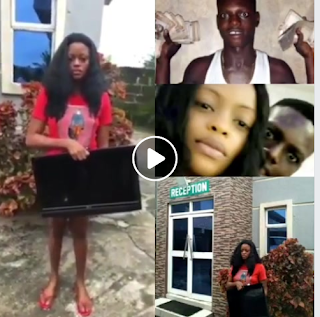 SHOCKING VIDEO: Nigerian Lady caught red handed stealing hotel plasma TV while checking out