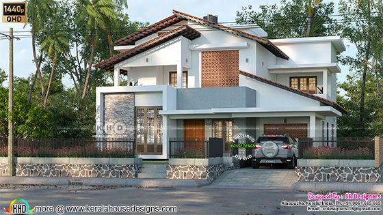 Slanting roof huse design by SR designers