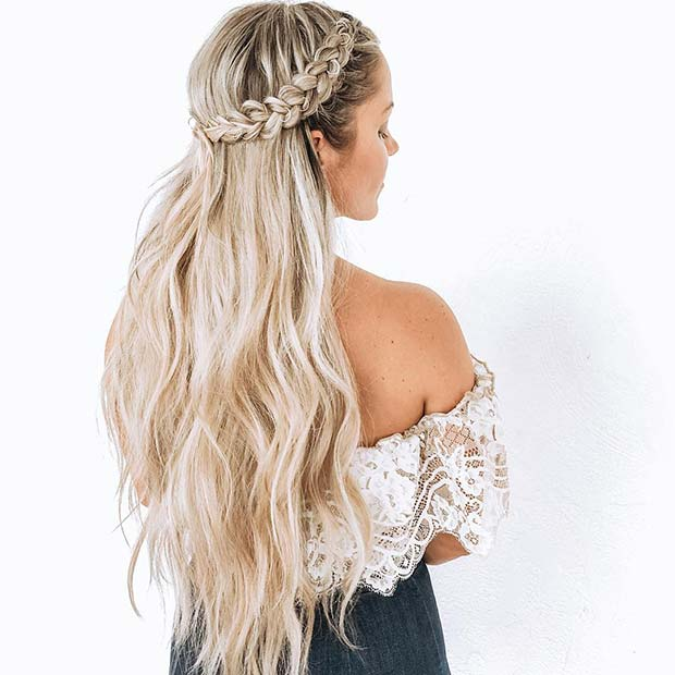 24 Simple Half Down Braids Hairstyles With Weave For Medium