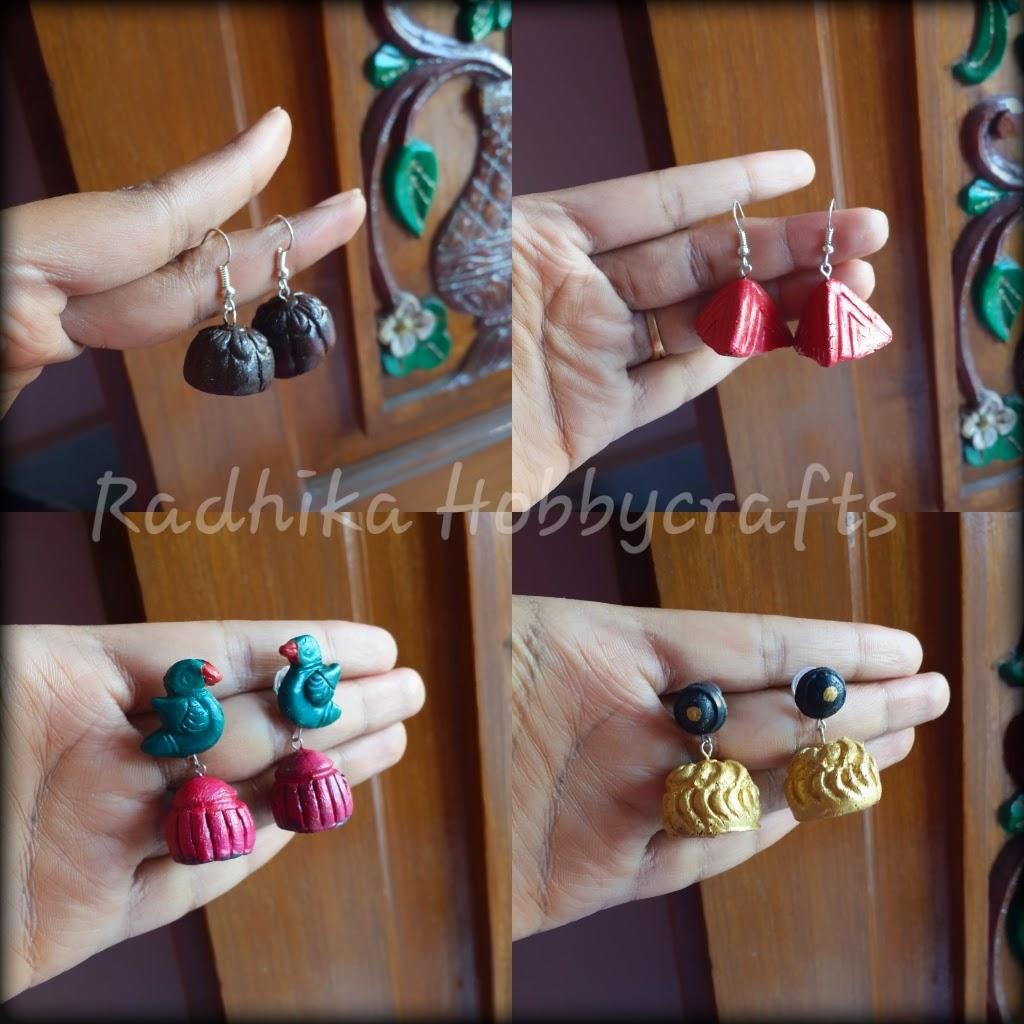Hobby Crafts :): Air dry Terracotta jhumkas Tutorial using ...