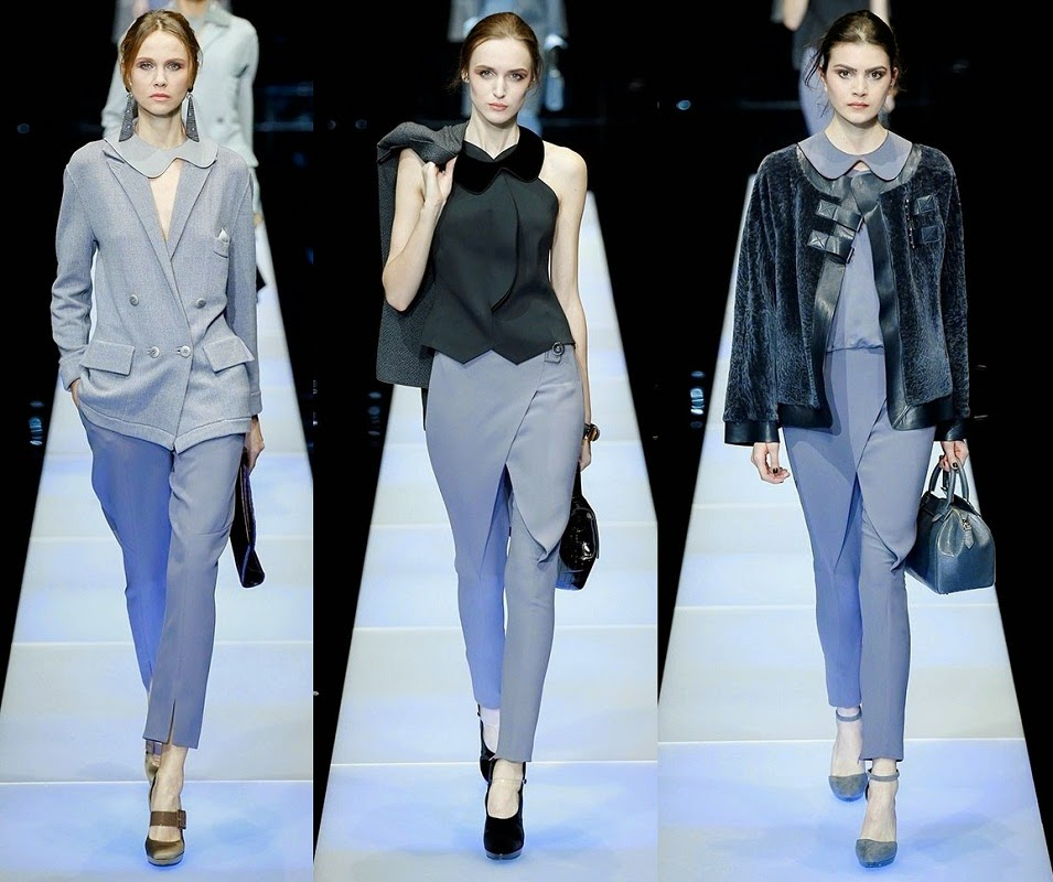 d142646d163dc La mujer Giorgio Armani viste con pantalones en su colección de  otoño-invierno 2015