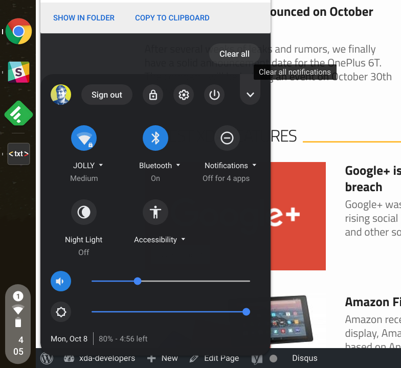 Android Notification Panel soon features on ChromeOS browser