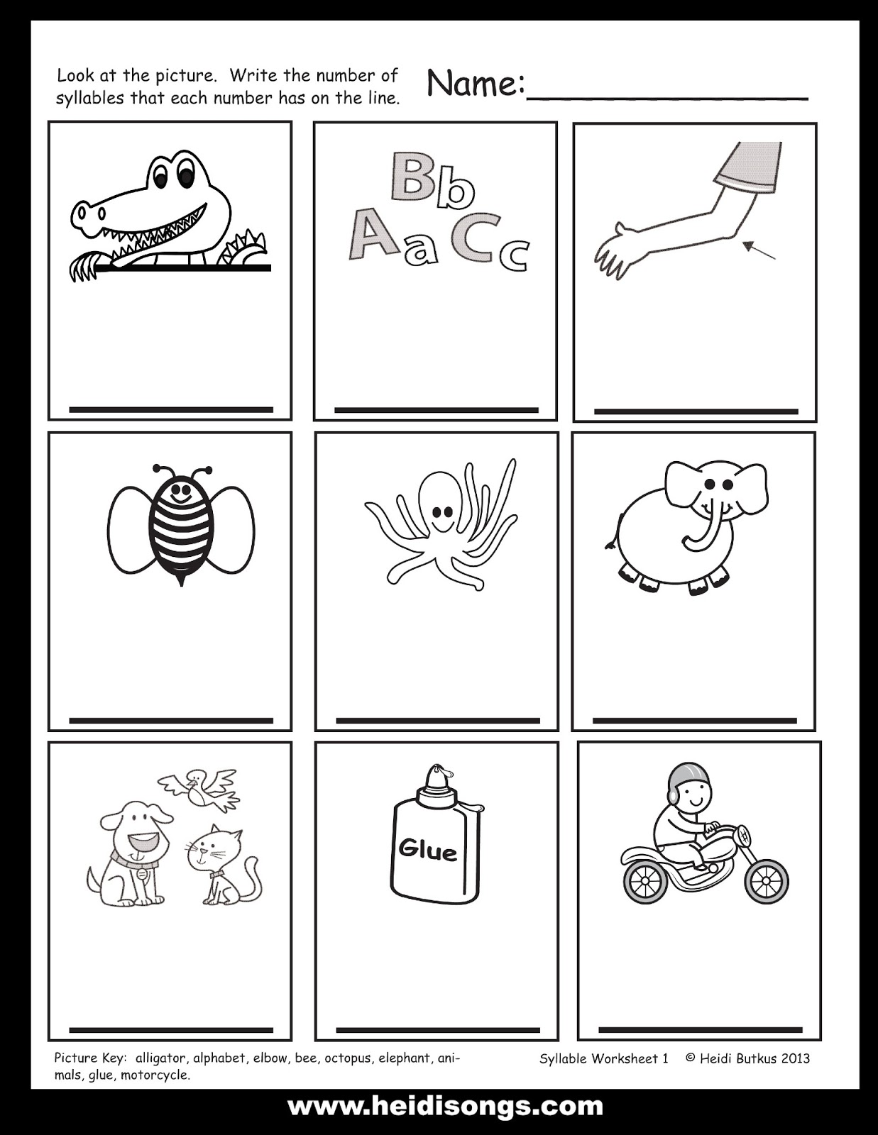 Kindergarten Syllable Worksheets - Synhoff