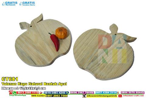 Talenan Kayu Natural Bentuk Apel