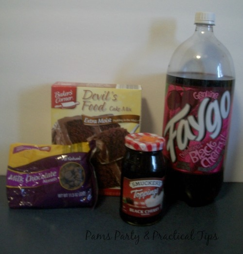 Ingredients for cherry chocolate cake