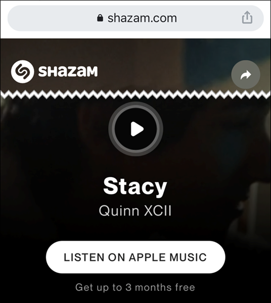 تعرف على المزيد حول الأغنية على موقع Shazam