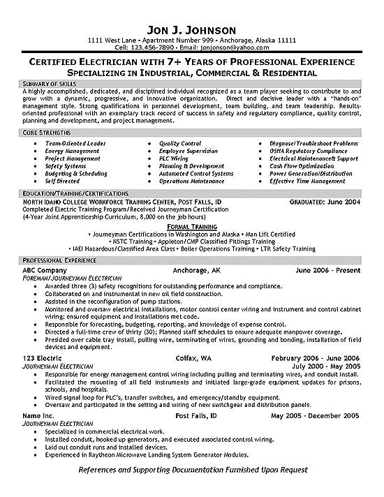 electrician resume samples