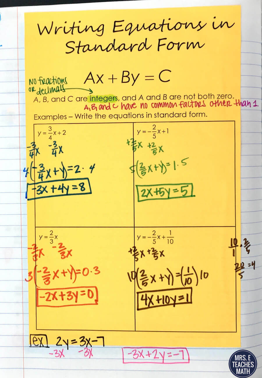 Intro to linear equations inb pages mrs e teaches math i used these foldables and interactive notebook pages as notes for my algebra 1 students falaconquin