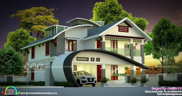 2422 Sq-ft 4 Bedroom Unique Ultra Modern Home Kerala