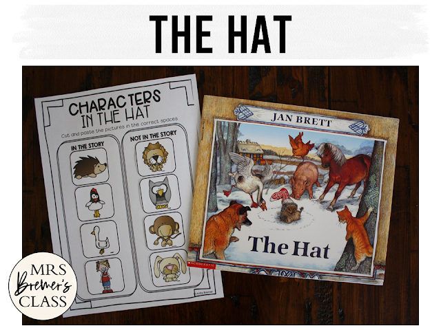 The Hat book study companion activities unit with Common Core aligned literacy activities and a craftivity for Kindergarten and First Grade