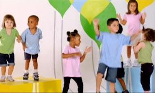 Birthday Dance. A group of children dance at a birthday celebration. Sesame Street Elmo and Abby's Birthday Fun.