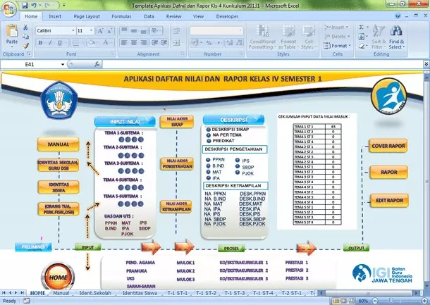 Aplikasi Daftar Nilai dan Raport SD-MI Kurikulum 2013 Format Microsoft Excel