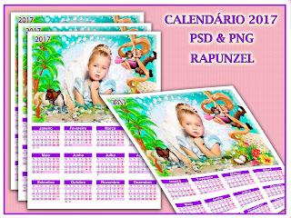 Calendário 2017 para montagens com foto - Rapunzel