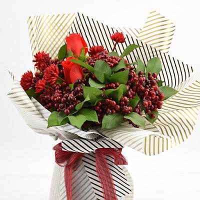 Contoh Buket Bunga Dengan Flower Wrapping Paper Seri LL-021 / LL Twill