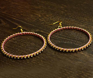 Pink-beads-wrapped-rhinestones-hoops-buy-online-india-Earring- Earrings Online Shopping Store-History-LH_ER000281_PNK