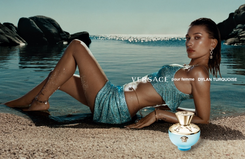 Versace enlists Hailey Baldwin for Dylan Turquoise fragrance campaign.