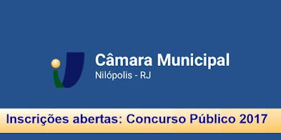 Inscrições abertas concurso camara de Nilópolis 2017