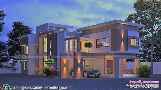 Awesome night view rendering of contemporary flat roof house