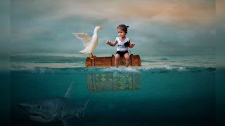 Cute Baby in Ocean Underwater Photo Editing
