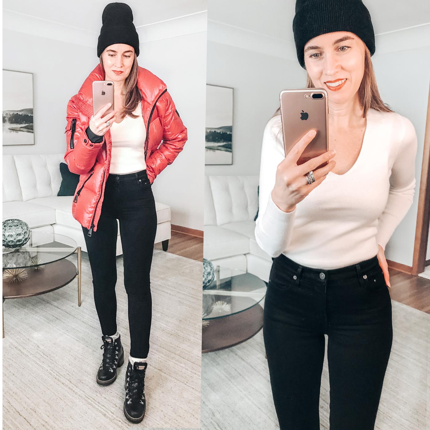style blogger, SAM red puffer ski jacket, black jeans, carhartt black beanie