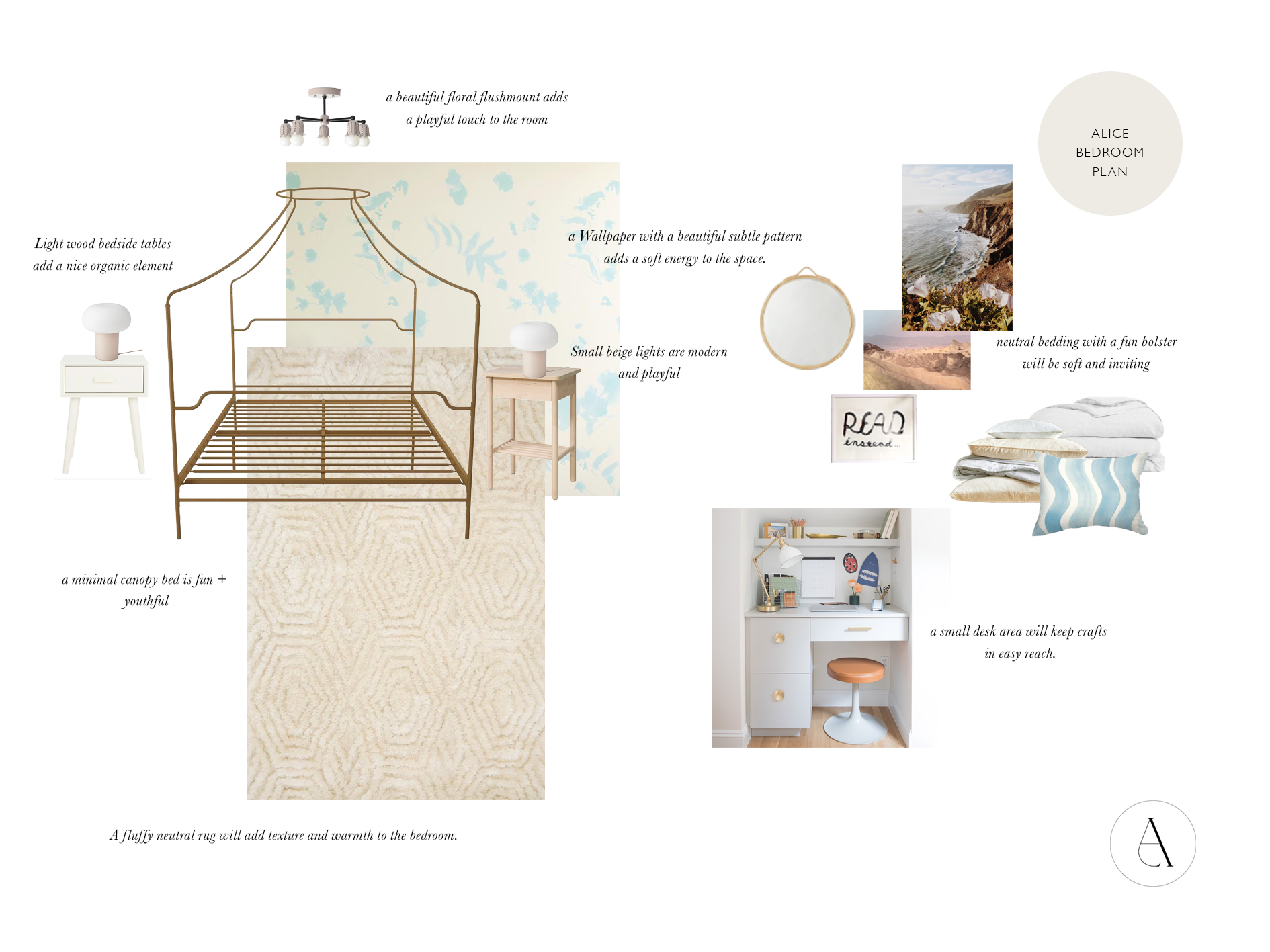 Girls bedroom design plan with a canopy bed, area rug, cream and blue