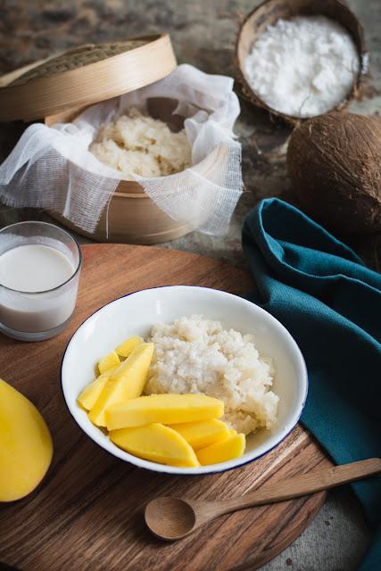 Sticky rice pudding, riz gluant à la crème de coco et mangues