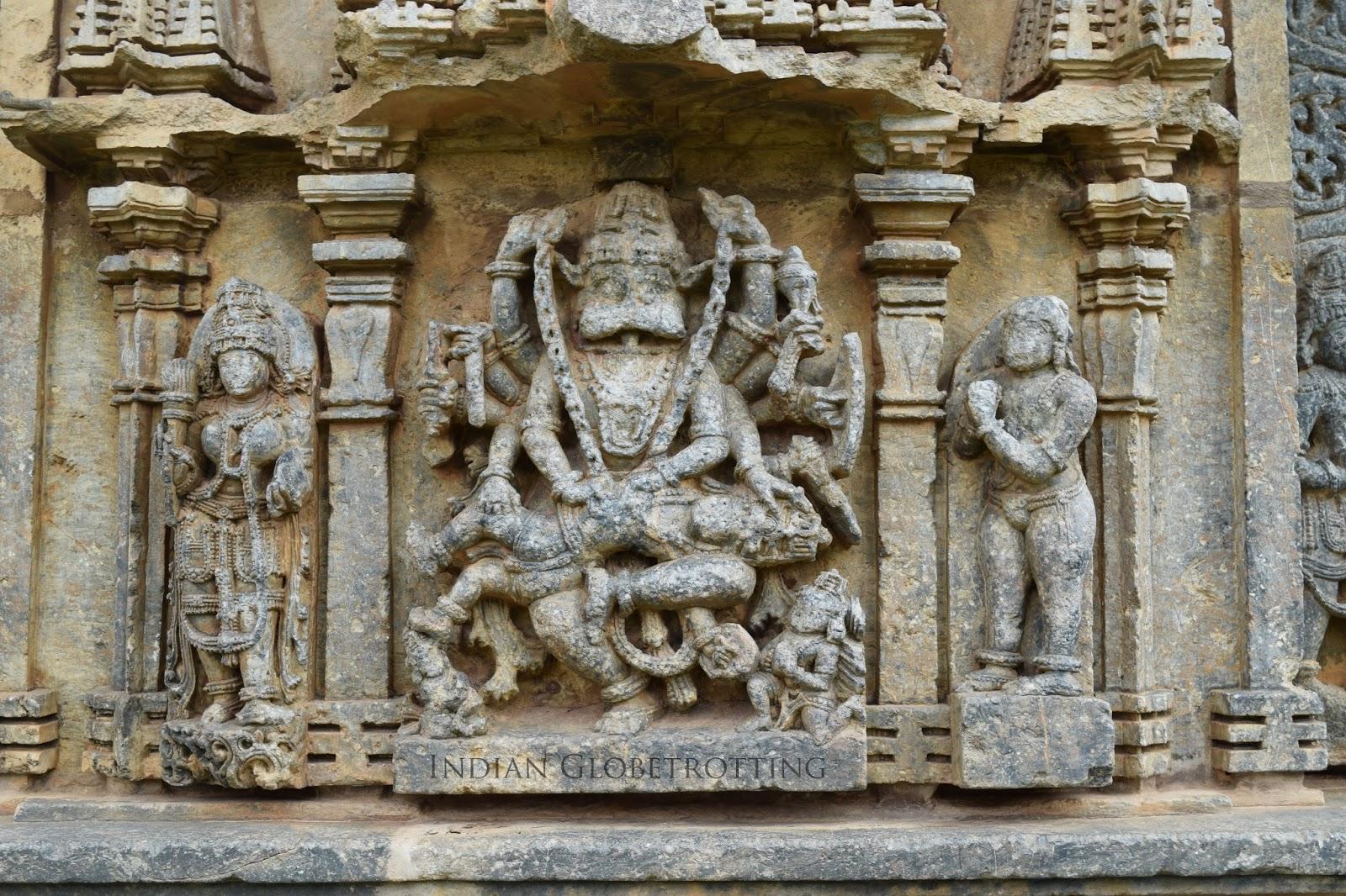 Narasimha avatar carved on the walls of the famous Hoysala Bucheswara temple in koravangala