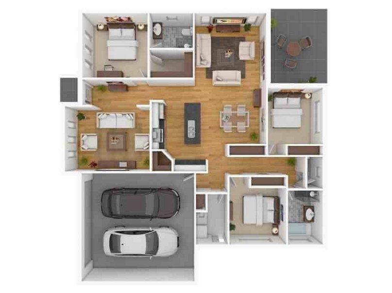 denah rumah ukuran 10x10 1 lantai terlihat minimalis