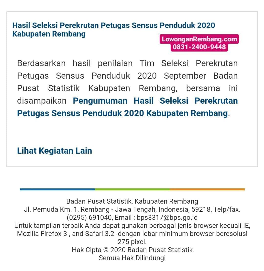 Hasil Seleksi Perekrutan Petugas Sensus Penduduk 2020 Kabupaten Rembang Dan Bisa Didownload