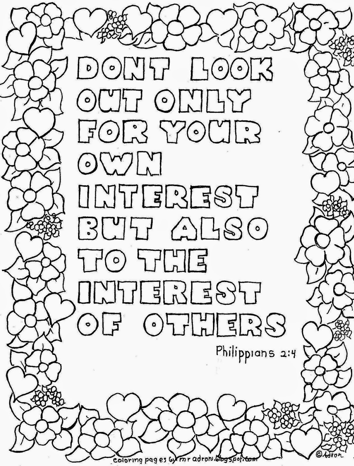 Coloring Pages For Kids By Mr Adron Look To The Interest Of Others Printable Coloring Page