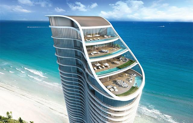 Edifícios em Sunny Isles Beach em Miami na Flórida