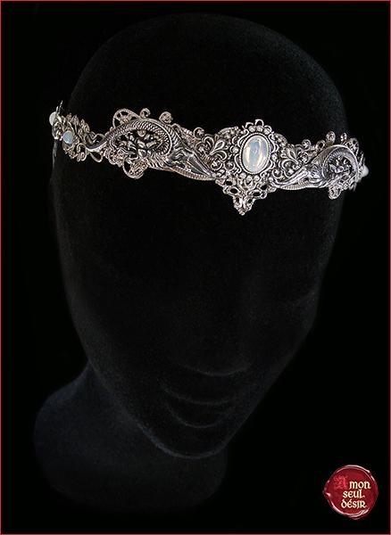 couronne dragon medieval blanc opale pierre de lune crown renaissance silver white opal moonstone