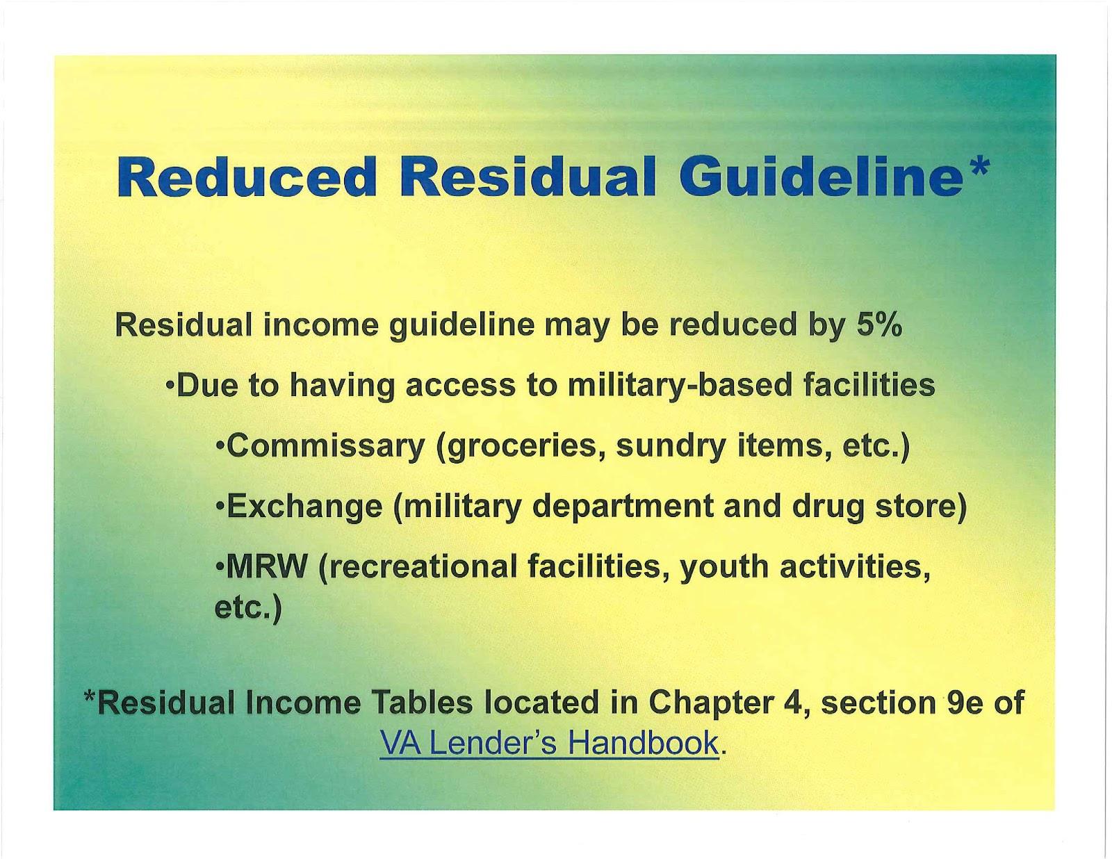 Va Residual Income Table