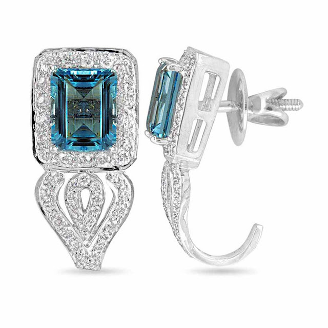 Velvetcase.com- Regal Aquamarine Diamond Earring - Rs 1,11,759