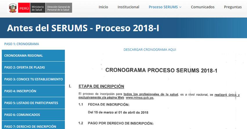 SERUMS 2018-1: Cronograma, Inscripción y Plazas - MINSA - www.minsa.gob.pe