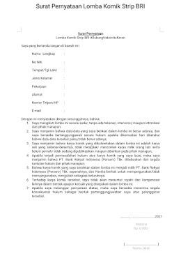 Contoh Surat Pernyataan ikut serta lomba komik Bank BRI