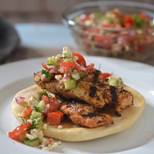 Recipe for Grilled Lemon Oregano Chicken Pitas