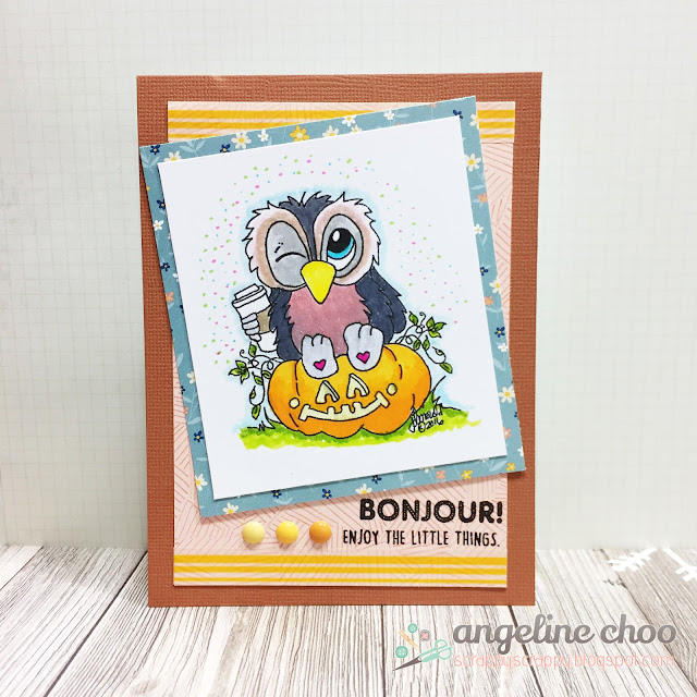 ScrappyScrappy: Coffee Lovers Fall Blog Hop with JLO Stamps and Unity Stamp - Pumpkin spice latte Brentwood Owl #scrappyscrappy #jlostamps #coffeelovers #card #stamp #cardmaking #pumpkin #coffee #tombowdualbrushpen #amytangerine #brentwoodowl