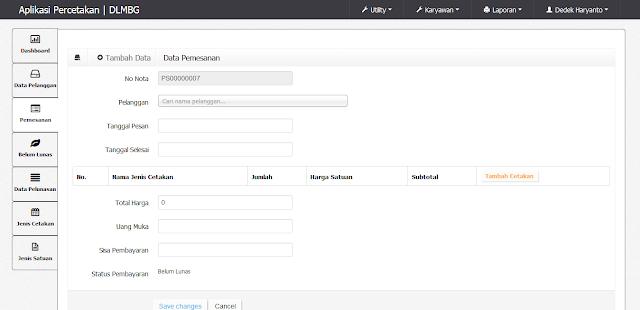 Source Code PHP Aplikasi Percetakan Berbasis WEB CI