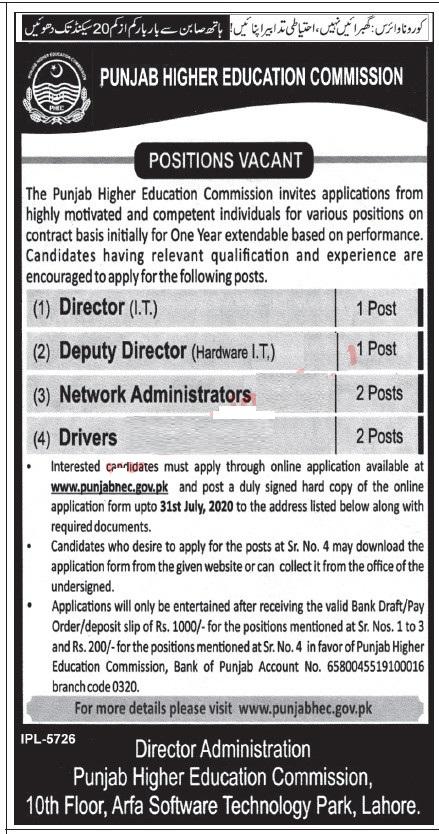 Punjab Higher Education Commission Jobs 2020 Network Administrators