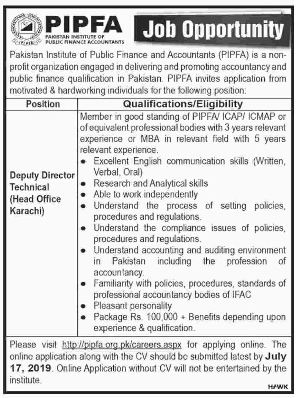 PIPFA Jobs 2019 Pakistan Institute of Public Finance & Accountants Latest