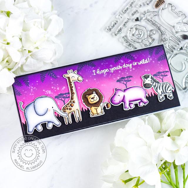 Sunny Studio Stamps: Savanna Safari Sunny Sentiment Dies Everyday Card by Rachel Alvarado