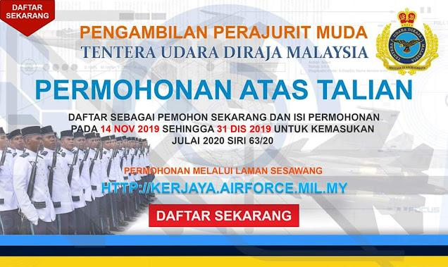 Pengambilan Perajurit Muda TUDM 2021 Online (Semakan Status)Kemasukan Julai)