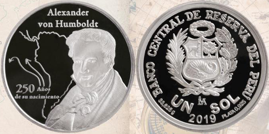Peru 1 sol 2019 250 years of the birth of Alexander von Humboldt